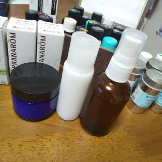 肌荒れケア用のアロマ化粧品作り。